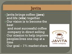 Javita helps inprove peoples lives one cup at a time http://www.myjavita.com/javitacoffee2