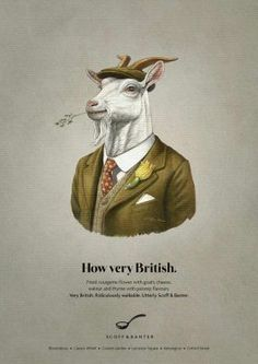 Advertising Campaign : Saatchi Masius: Scoff & Banter 'How very British' Advertising Campaign Inspiration Saatchi Masius: Scoff & Banter 'How very British' Advertisement Description Saatchi Masius: Scoff & Banter 'How very British' Sharing is caring ! Goat Logo, Saatchi & Saatchi, Ad Of The World, Old Greeting Cards, Honey Badger, Creative Advertising, Animal Heads, Advertising Campaign, Planer