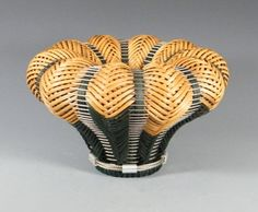CAROLE  HETZEL ~ Brendan Basket, No.369 ~ Doublewoven reed and stainless steel cable   9.5 x 15.5 x 15.5 in