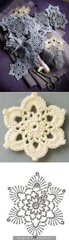 Hexagon crochet flower
