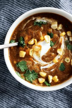 Healthy vegan sweet potato corn chowder with curry spices and a little kick…