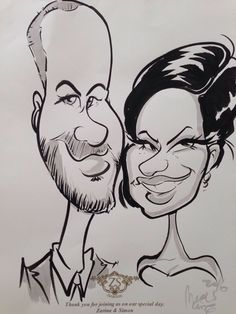 wedding caricatures for the guests.