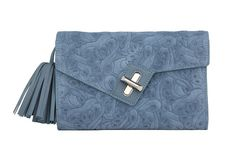 Mini MILCK Clutch Flower Party in blue.  Small, but not too tiny, this fulfills all the basic clutch duties. Meanwhile, the chain strap  gives it the versatility to sling crossbody and worn with a bit of edge.