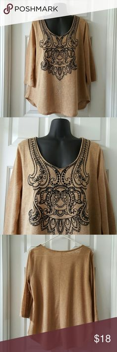 NY&CO Printed Details Top NY&CO Printed Details Top in Camel and black. Perfect for fall. 3/4 sleeves. 75% Polyester. 25% Rayon. Excellent condition. Length from shoulder to hem is approx 26 inches. New York & Company Tops Blouses