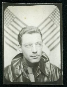 vintage photobooth pictures | vintage photo photo booth man w flag behind him by maclancy