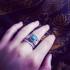 Tibetan Bohemian Opalite Turquoise or Blue Trinket Ring Boho