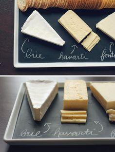DIY chalkboard food platter. Great for entertaining.