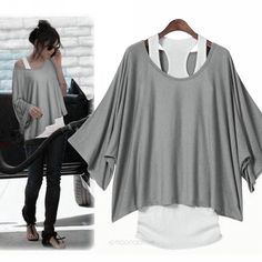 Sexy Womens 2 in 1 Hot Loose Batwing Tops Blouses T-shirt Tank VEST Fit UK 6-14   eBay