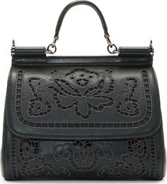 Dolce & Gabbana Forest Green Floral Embroided Miss Sicily Bag