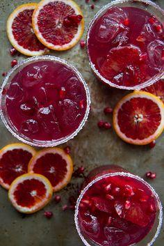 Skinny Blood Orange Pomegranate Margaritas