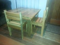 Original  Children's Table & Chairs  #kids #palletchair #pallettable #recyclingwoodpallets Used Anna White plan as a guide to make this table and two chairs for my children's.     ...