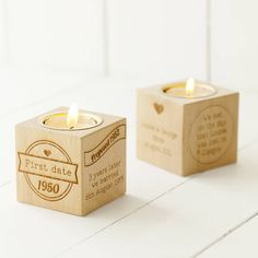 Our Story Engraved Wooden Tealight Cube. Tell the story of you as a couple, with a beautiful solid wooden cube engraved on four sides with an inset tealight holder.