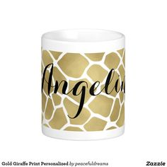 Gold Giraffe Print Personalized Classic White Coffee Mug