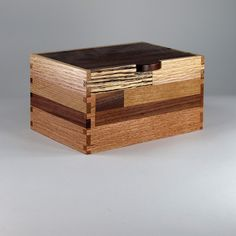 Salvaged Wood Box, Black Walnut, Cherry, Maple, Oak A custom #KeepsakeBox sold earlier this year on our #Etsy shop.  A patchwork design using reclaimed hardwoods.