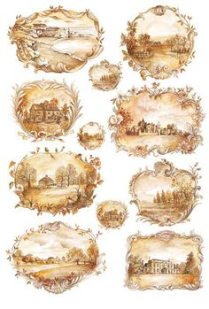 Landscapes in a Sepia color on this decoupage rice paper from Calambour Italy. Vintage Tags, Vintage Labels, Vintage Prints, Decoupage Vintage, Vintage Paper, Images Victoriennes, Love My Dog, Etiquette Vintage, Decoupage Printables