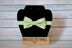 Pale Pastel Green with White Polka Dots Adjustable Baby / Toddler / Child Bow Tie Bowtie. $15.00, via Etsy.
