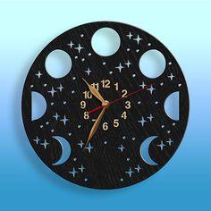 Moon Phases, Lunar Cycle Wall Clock, 12inch(30cm), Contemporary Clock, Wall Decor, Wooden clock, Nursery Decor, Home decor, Gift Idea