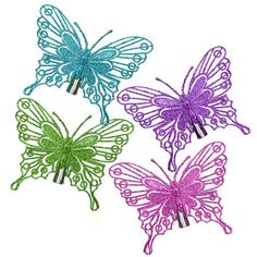 2 Silver Butterfly Tree Clips | Poundland