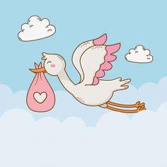 Scrapbook Bebe, Baby Boy Scrapbook, Baby Stork, Baby Shawer, Baby Shower Cards, Baby Boy Shower, Twin Baby Girls, Cute Baby Girl, Dibujos Baby Shower