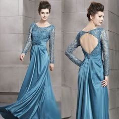 Blue Lace Silk Long Sleeve Backless Formal Ball Gown Evening Dresses SKU-122693