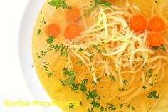 Rosół is a traditional Polish meat broth. The most popular variety is rosół z kury, or clear chicken soup. It is commonly served with fine noodles.   It is one of the most popular Polish soups and is served on family