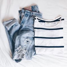 Nothing better than a simple black and white striped tee with boyfriend jeans
