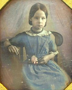 Naturally sidelighted, this is a lovely picture. The rucking and gathered waist of her dress is very sweet. I flipped this verically to show how a pose that appears awkward in the original daguerreotype is far more graceful when it is no longer a mirror image.
