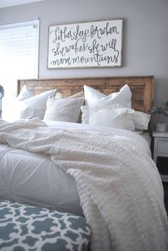 Paint and bed.The Rugged Rooster Home Tour, The Rugged Home. How To Decorate your Home For Cheap, Get The Farmhouse Look, Learn To Build Your Own Rustic Furniture Wood Bedroom, Bedroom Decor, Bedroom Ideas, Bedroom Designs, Bedroom Apartment, Teen Girl Bedrooms, Master Bedrooms, Rustic Furniture, Furniture Ideas