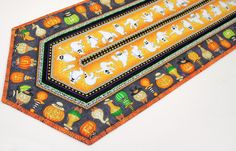 Halloween Quilted Table Runner - Orange and Black Quilt with Pumpkins and Ghosts, Halloween Party Table Decor, Quiltsy Handmade by QuiltSewPieceful on Etsy