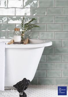 The Winchester Tile Company Residence Cosmopolitan Mint Brick Tiles are slightly. - The Winchester Tile Company Residence Cosmopolitan Mint Brick Tiles are slightly chunkier than the - Bathroom Interior Design, Bathroom Styling, Modern Bathroom Design, Modern Country Bathrooms, Country Kitchen Tiles, Mint Bathroom, Small Bathroom, Bathroom Ideas, Green Bathrooms