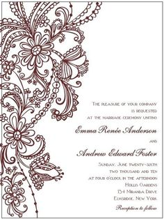 Vintage/henna style flower invite. love