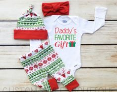 Baby Girls Coming Home Outfit, Red and Green Leggings,Hat and Headband With Red Cuffs, Baby's First Christmas Outfit