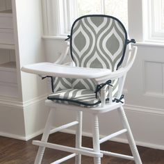 Gray and Navy Raindrops High Chair Pad #carouseldesigns