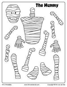 Print this free mummy cut and paste craft for Halloween, and create your very own mummy. Cut out pieces to create this fun Halloween paper toy for kids. Halloween Cut Outs, Halloween Doodle, Halloween Prints, Halloween Coloring, Halloween Kids, Halloween Party, Mummy Crafts, Halloween Arts And Crafts, Paper Crafts For Kids