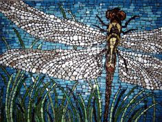 Dragon Fly Mosaic by Monique Sarfity vitreous, stained and recycled glass with black grout