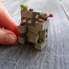 TINY Miniature Cinderblock Planter, Made in the USA, Includes Plants, Care Instructions, Handmade, Half Inch, Exclusive, Dollhouse Miniature by Janit on Etsy