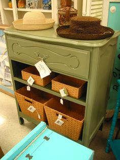 Up-cycled re-purposed painted dresser made for storage with baskets, tropical decor, available for sale today. - SOLD