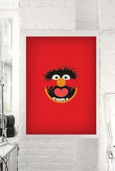 "The Muppet Show ""Animal"" Minimalist Poster - Retro Style Print Home Wall Muppet Babies Nursery Art Birthday"