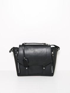 musette leather bag black