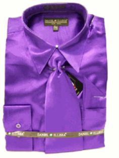 bc479c41eee SKU EJ818 Men s New Purple Satin Dress Shirt Tie Combo Shirts  59 Mens  Dress Shirts
