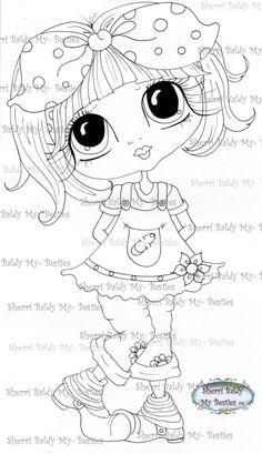 SOFORT-DOWNLOAD digitale Digi Briefmarken großes Auge großer Kopf Puppen Digi friends IMG239 von Sherri Baldy