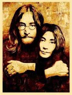 John Lennon, The Beatles - Shepard Fairey Obey Psychedelic Hippie Peace Art Poster Shepard Fairey Prints, Shepard Fairey Obey, Tachisme, Omg Posters, Music Posters, Pop Art, John Lennon And Yoko, Rock Poster, Urbane Kunst
