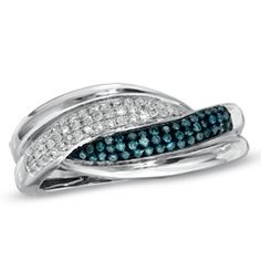 1/4 CT. T.W. Enhanced Blue and White Diamond Swirl Ring in 10K White Gold