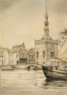 Alkmaar, tekening van Anton Pieck (Bierkade, accijnstoren)
