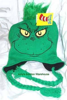 NWT NEW Dr. Suess THE GRINCH Hat LAPLANDER WINTER SKI SKULL BEANIE CAP  PERUVIAN aa756639e58