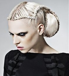 A long blonde straight coloured plaited white avant garde updo ponytail hairstyle by The Vanilla Rooms