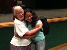 Joan and a student at Provo High School in Utah.