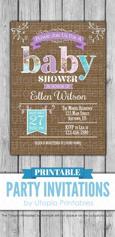 A printable teal, purple and brown burlap baby shower invitation with lavender, turquoise and aqua blue floral accents and a rustic look. Perfect for a country themed baby shower. Cute digital party invite template with a unique design to fit your rural shower idea or theme. This customized announcement card will be personalized with your custom text. DIY file that you can download and print at home.