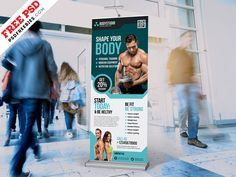 Gym Fitness Club Roll up Banner Free PSD by PSD Freebies