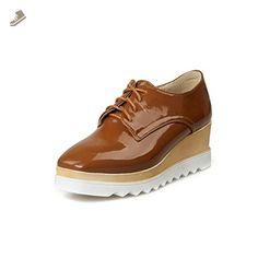 BalaMasa Womens Bandage Color Matching Thick Bottom Heel Brown Imitated Leather Pumps-Shoes - 5.5 B(M) US - Balamasa pumps for women (*Amazon Partner-Link)